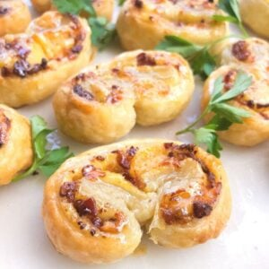 Savory puff pastry palmiers with parsley.