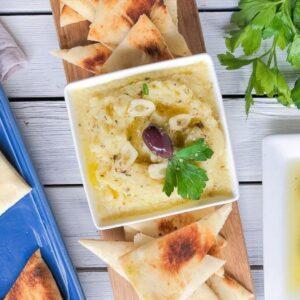 Greek potato dip with pita bread.