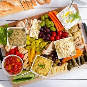 Greek appetizer board with spreads