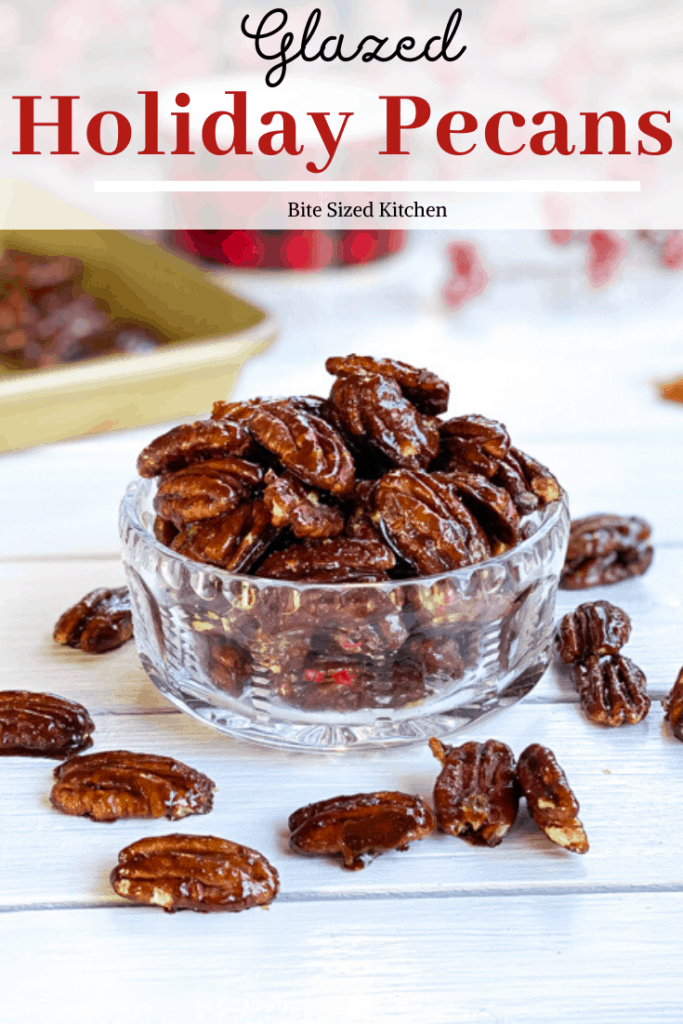 Holiday pecans glazed with brown sugar and cinnamon. Candied nuts could not get any easier! This sweet snack is great during Christmas time to serve at a party!