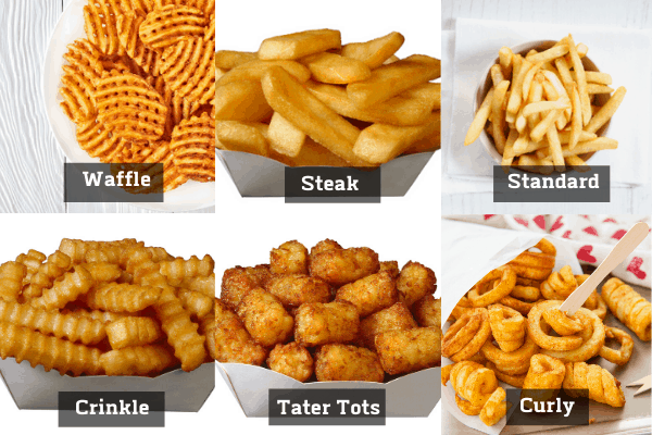 a french fry collage with different cuts