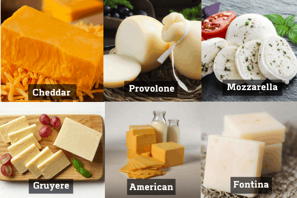different cheese in a collage