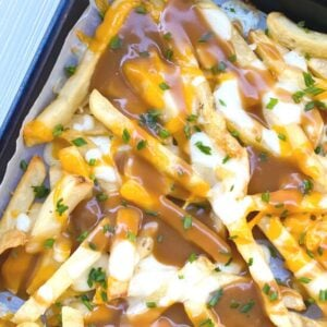 french fries covered in mozzarella cheese and gravy
