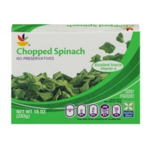 Frozen spinach dip package.