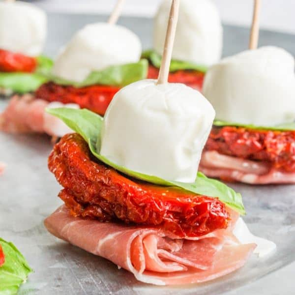 antipasto skewers with mozzarella with sun dried tomatoes