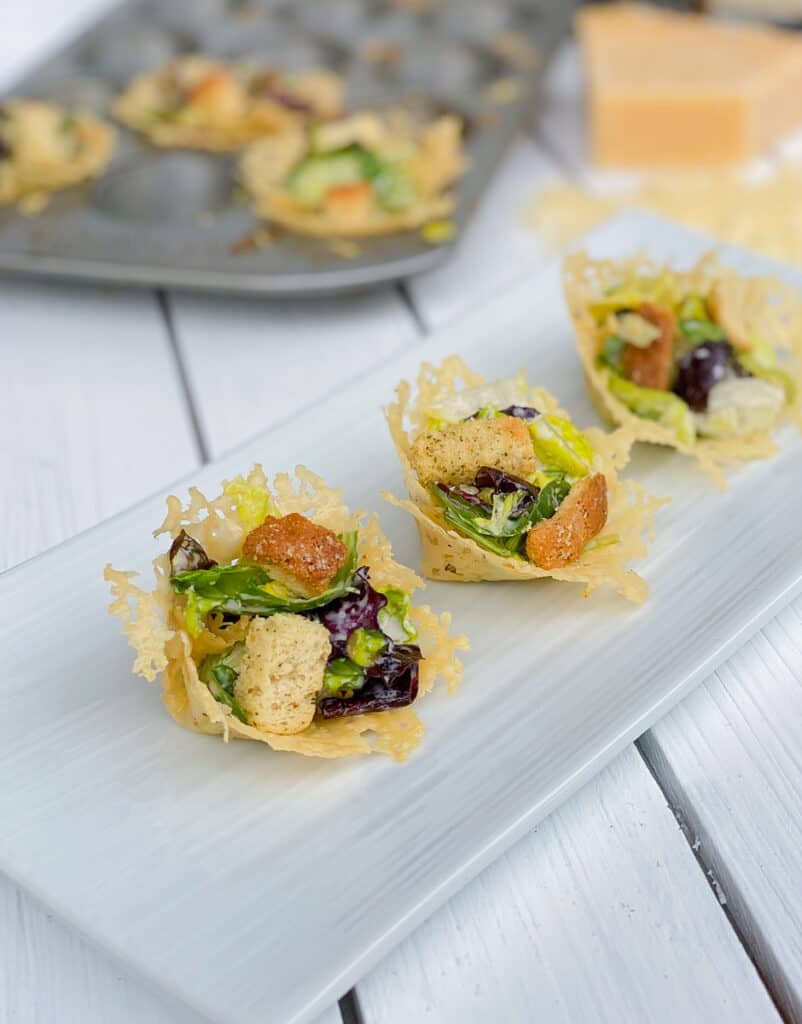 mini 3 ingredient parmesan cheese boats with caesar salad