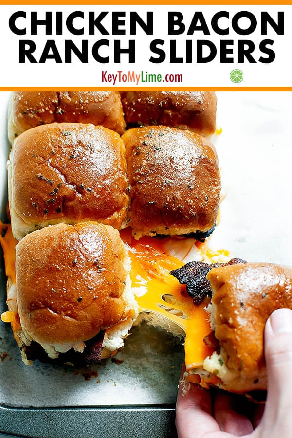 mini chicken and bacon sliders on a baking dish