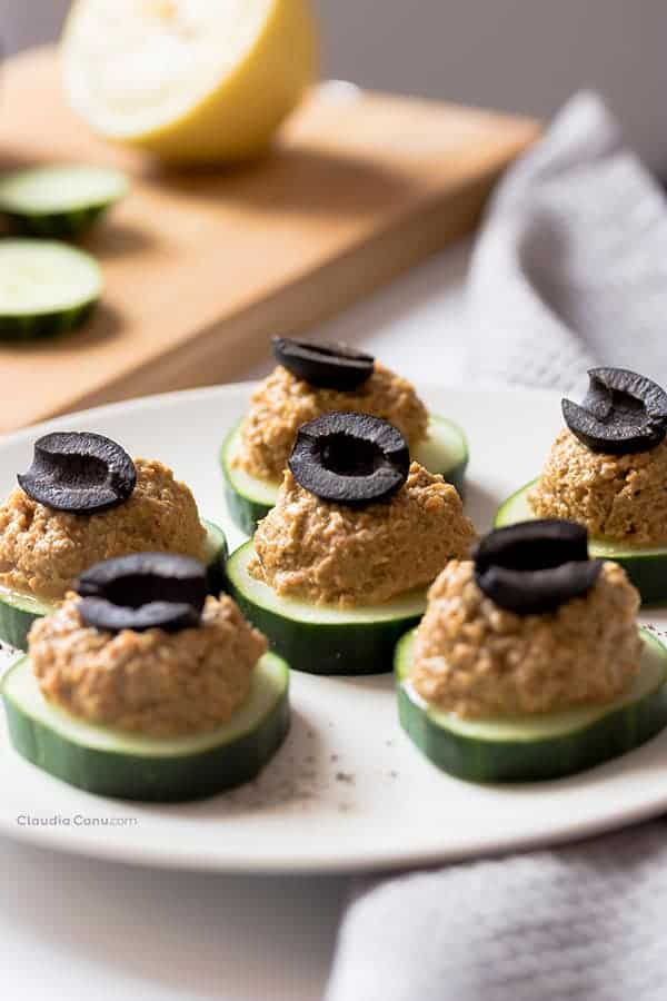 cucumber appetizer bites with spread