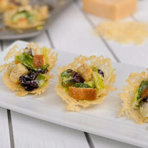 parmesan salad cups on a plate