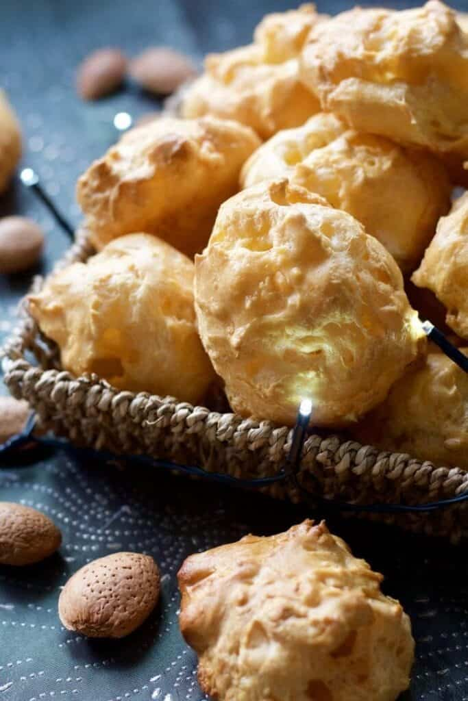 cheese puffs appetizer in a basket