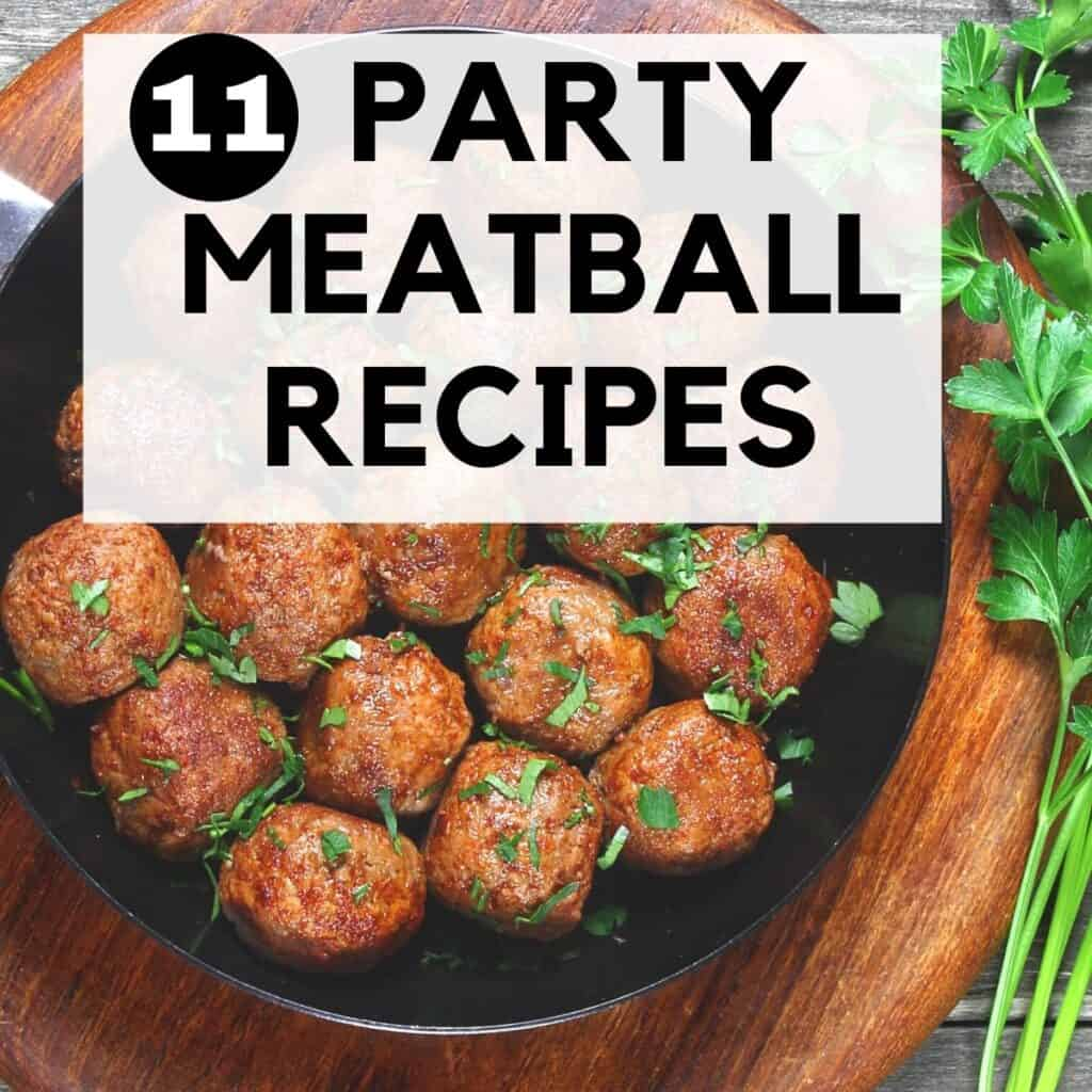 party meatballs in a skillet with parsley