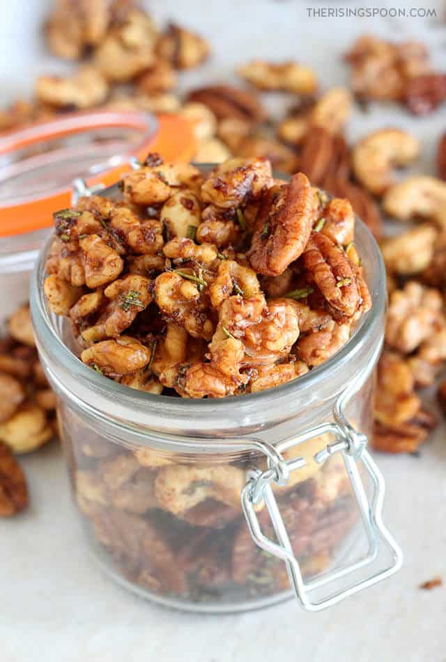spiced nuts party snack in a jar