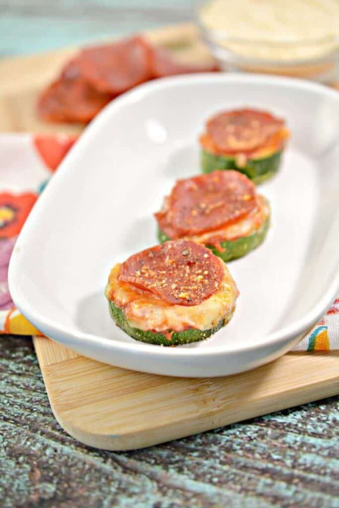 zucchini Parmesan appetizer rounds topped with pepperoni