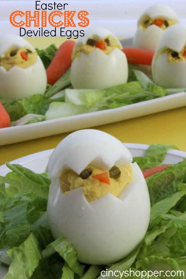 boiled egg appetizer that look like little Easter chicks.