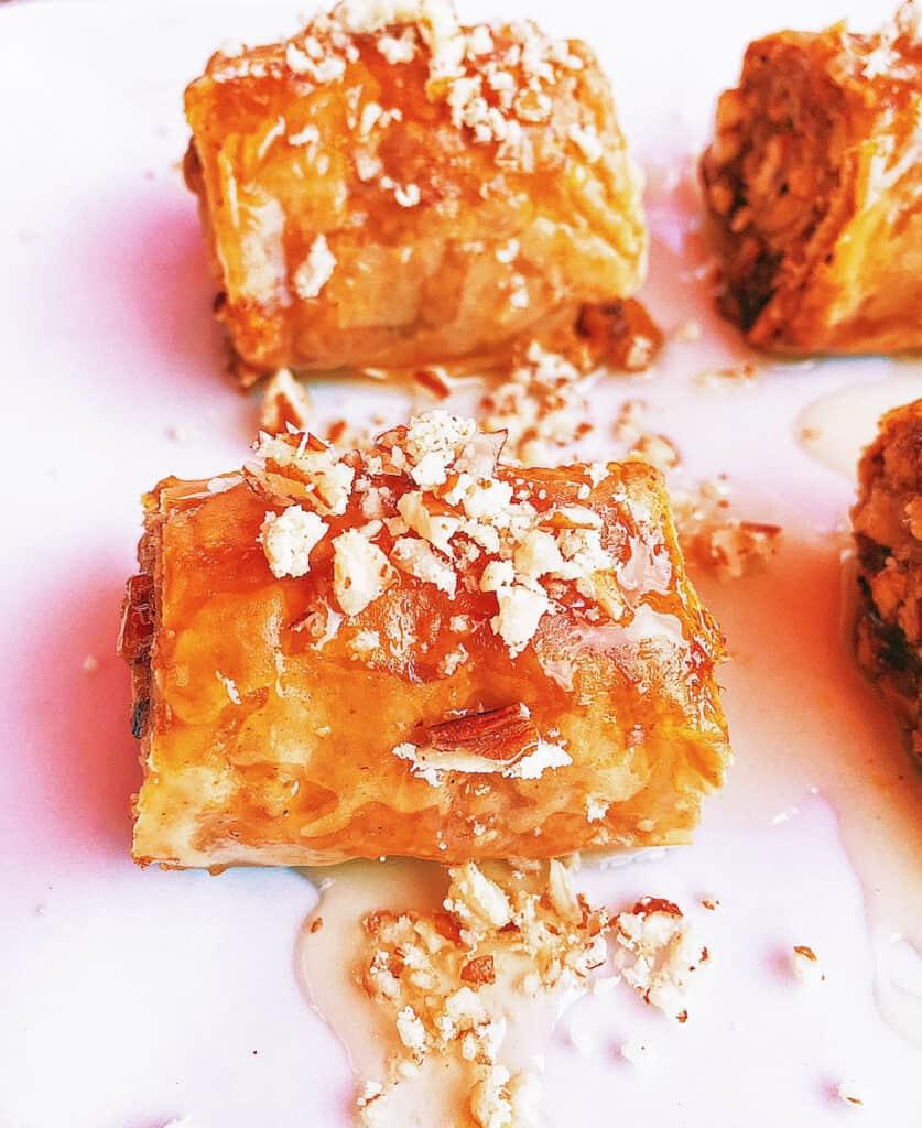 easy greek baklava rolls with spiced nuts