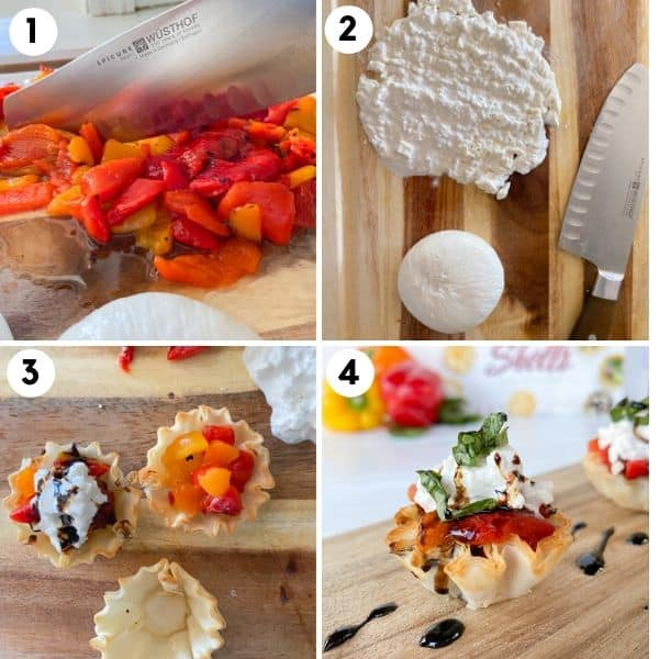 steps to make phyllo cups with cheese and pepper filling.
