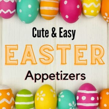 "Easter eggs with text overlay saying ""cute easy creative easter appetizer""."