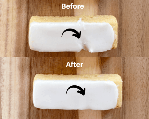 Two images showing how to smooth out frosting on a cookie.