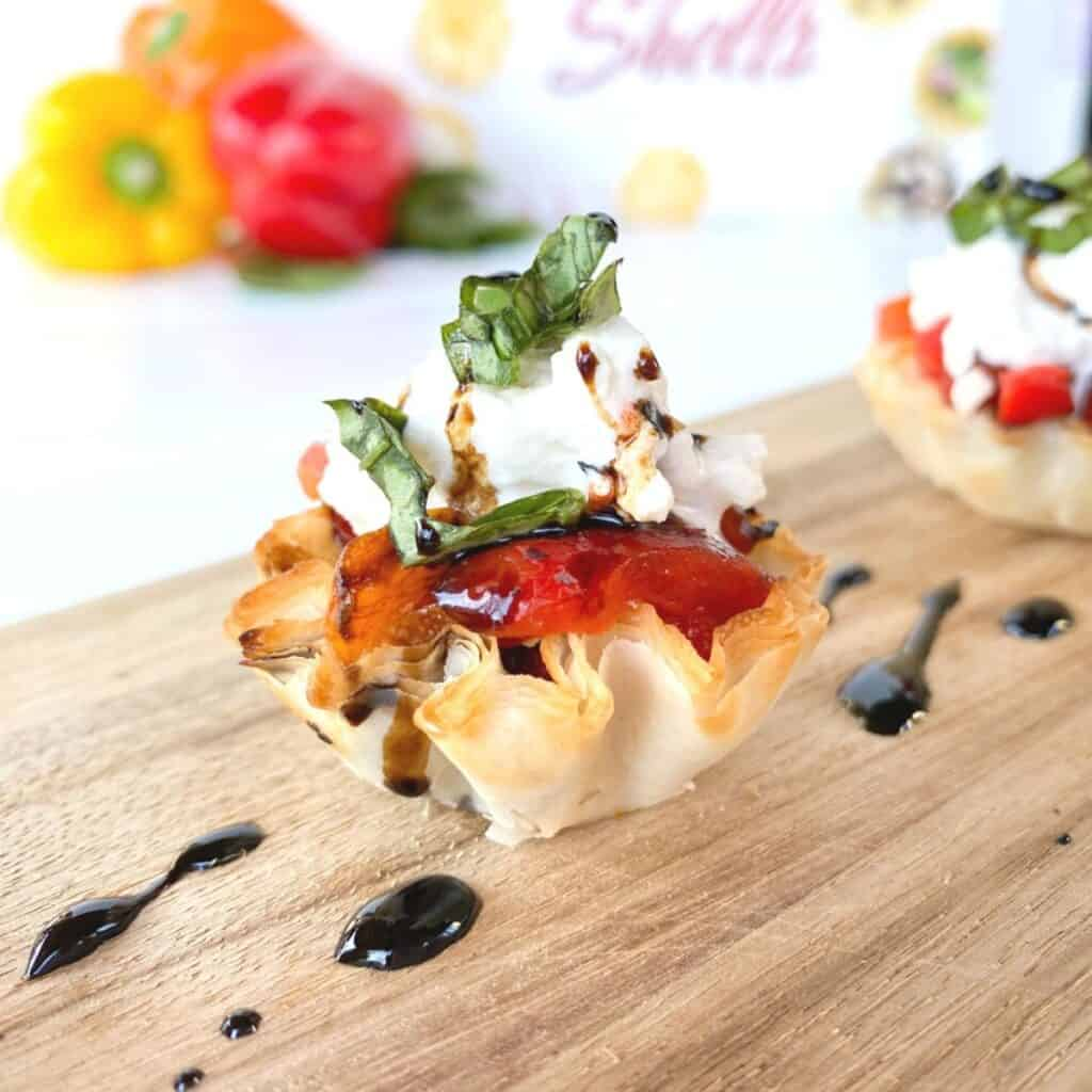 phyllo cups filled with peppers and burrata