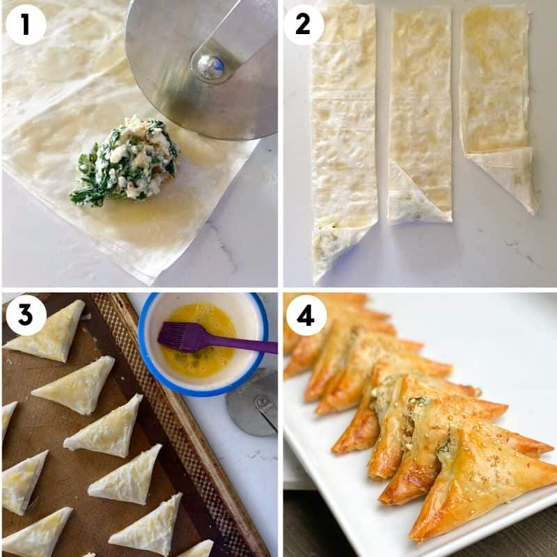 showing how to fold and stuff spanakopita triangles.
