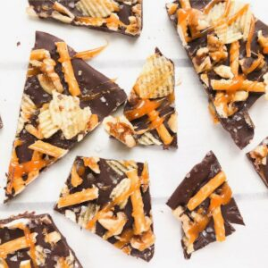 dark chocolate salted bark cut into pieces