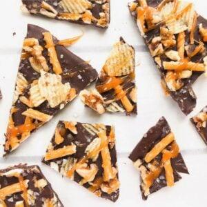 dark chocolate salted bark cut into pieces