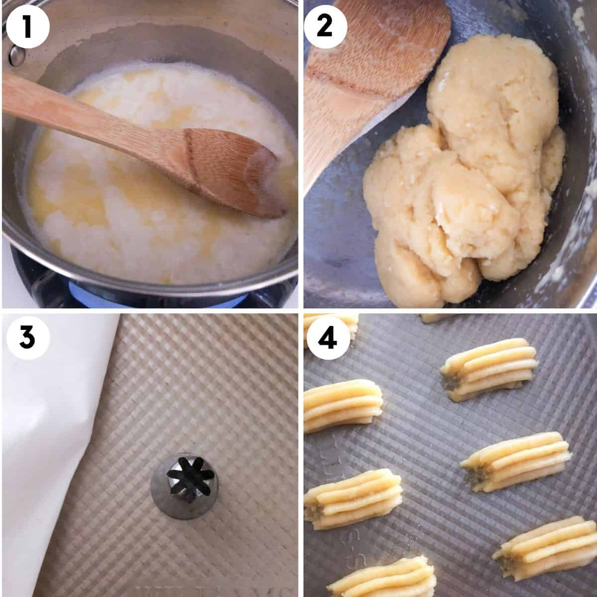 step by step guide showing how to make mini baked churros with a star tip