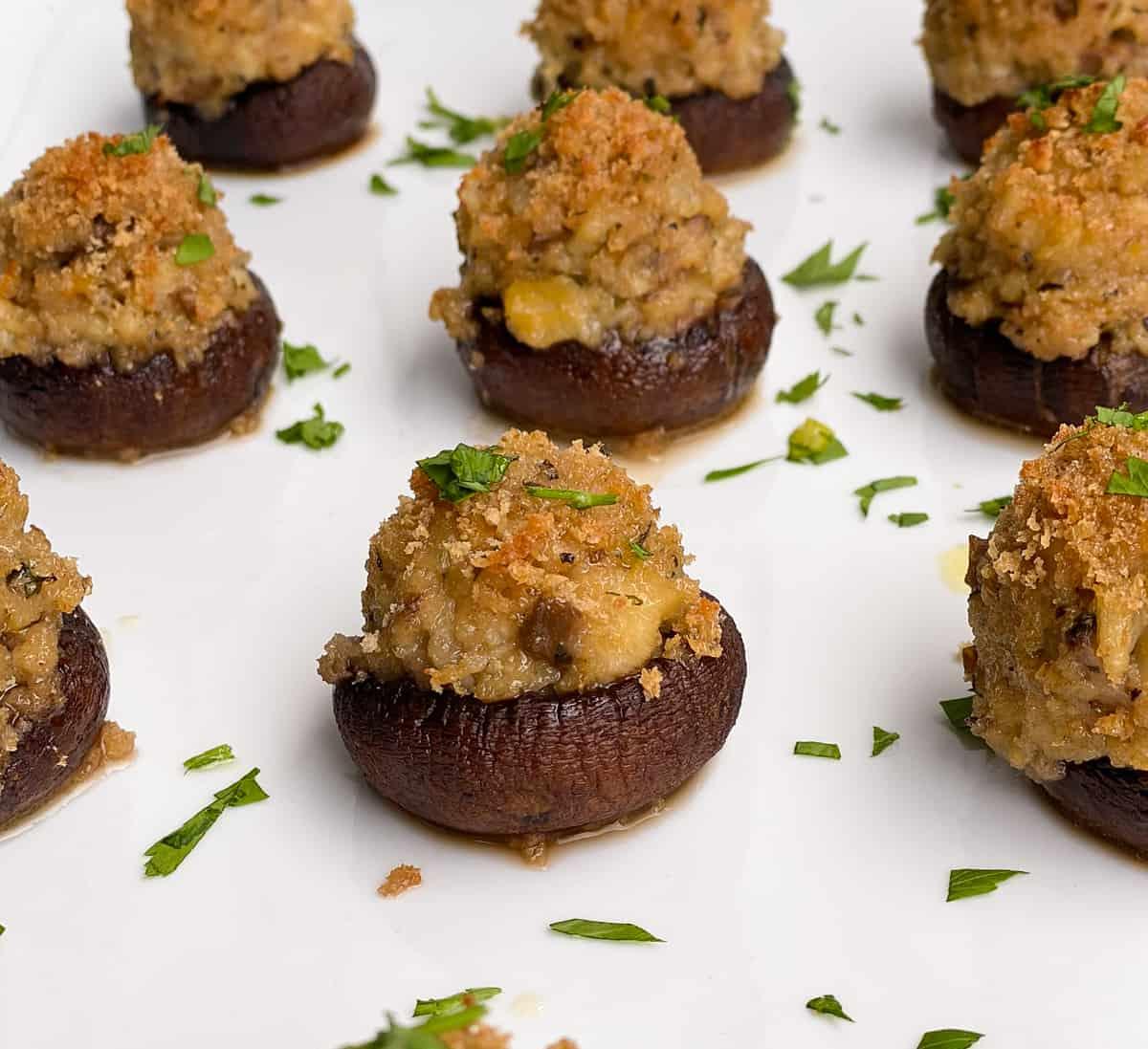mini Italian mushrooms stuffed with breadcrumbs clams and seasoning on a white plate.