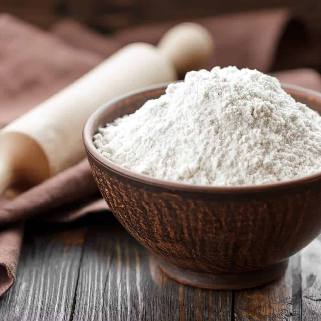 all purpose white flour in a small bowl