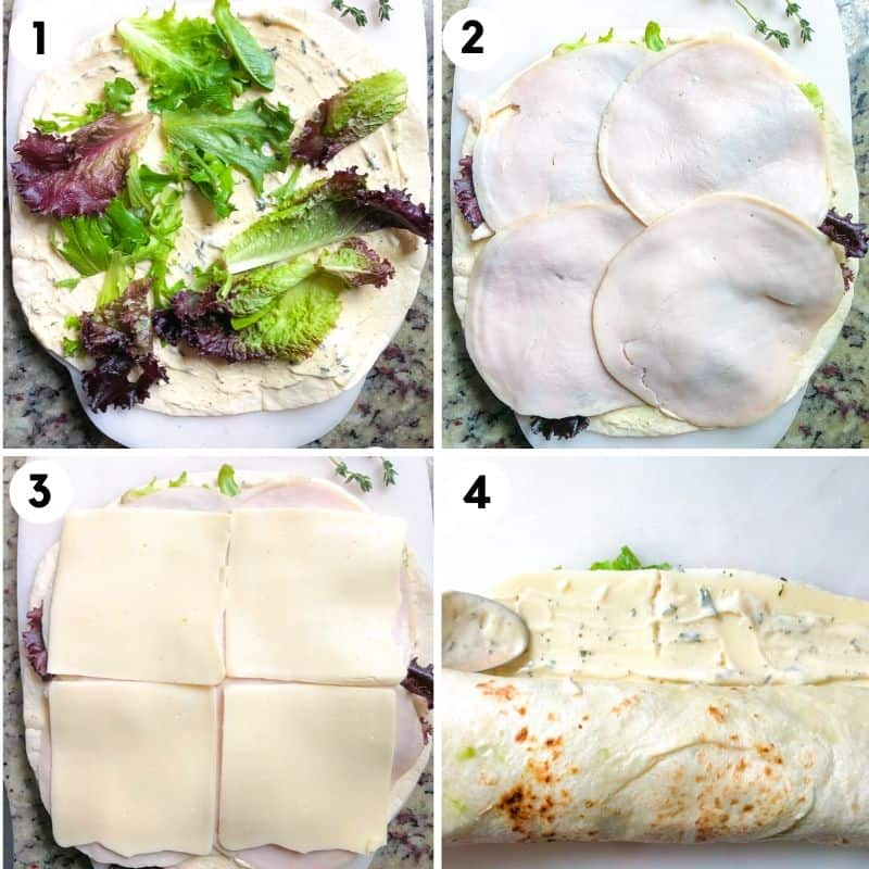 4 step collage showing how to layer your pinwheels with lettuce, turkey breasts, cheese and dressing