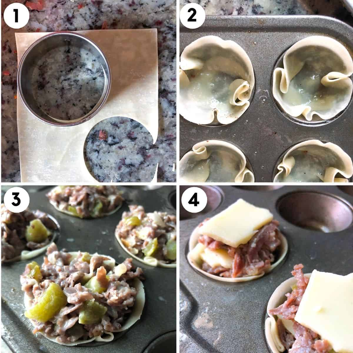 Steps for how to make cheesesteak wonton cups using a mini muffin tin.