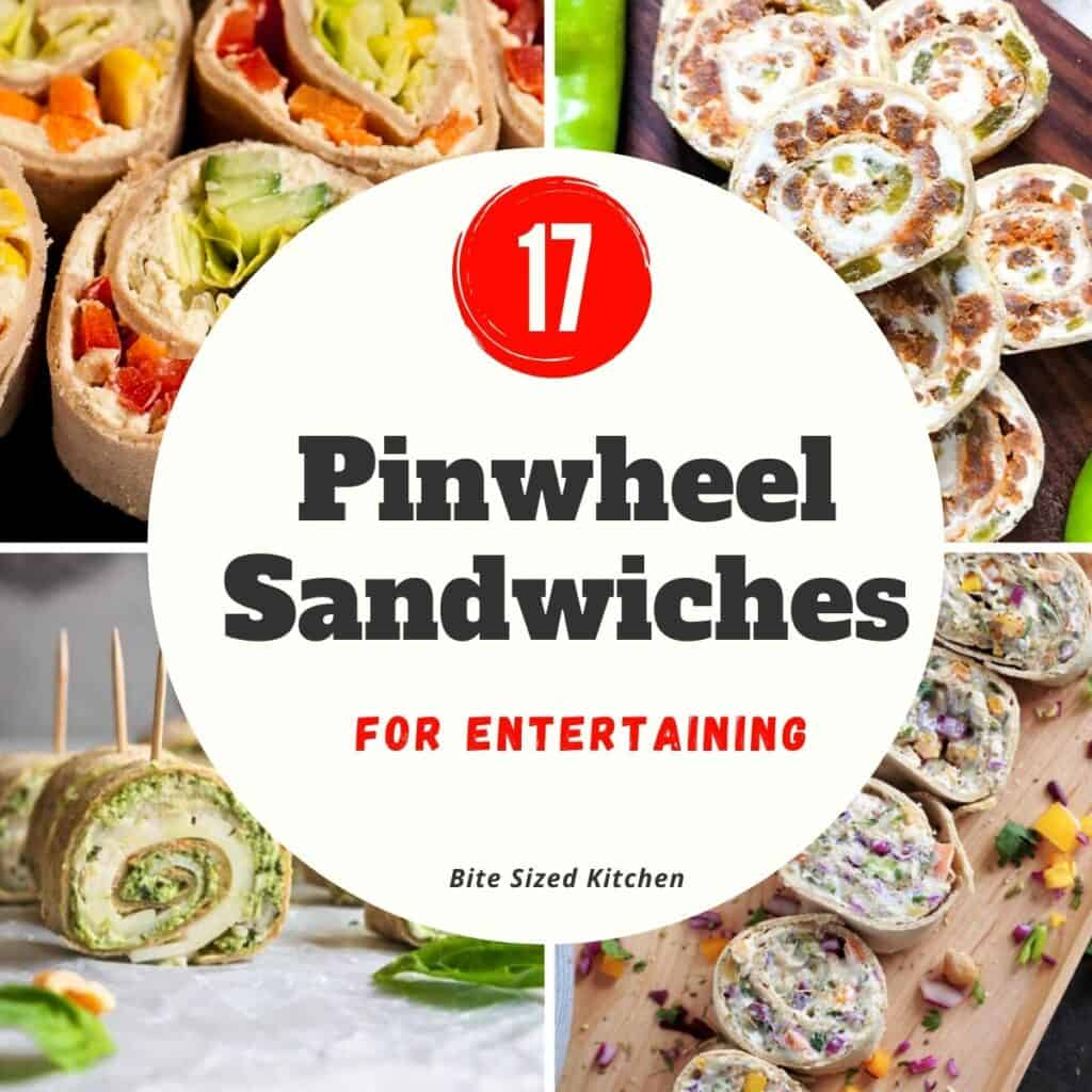 "collage of pinwheel recipes with text overlay ""17 pinwheel sandwiches"""