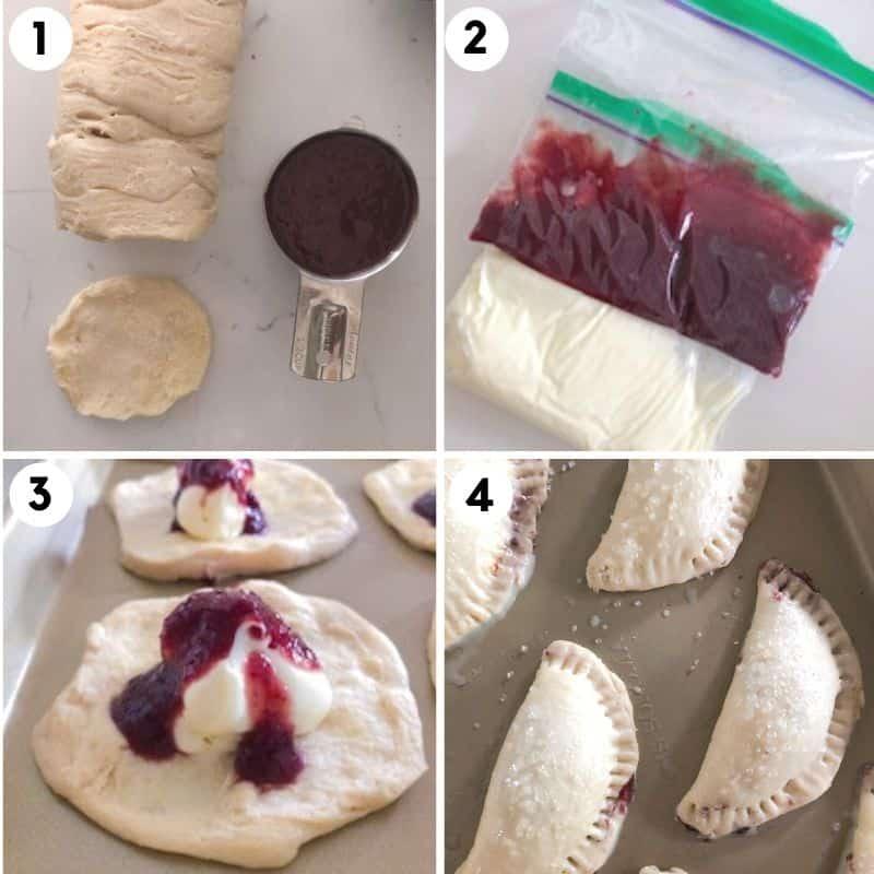steps for how to make dessert empanadas including filling them and folding them.