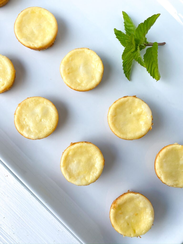 mini plain cheesecake bites on a white plate with mint garnish