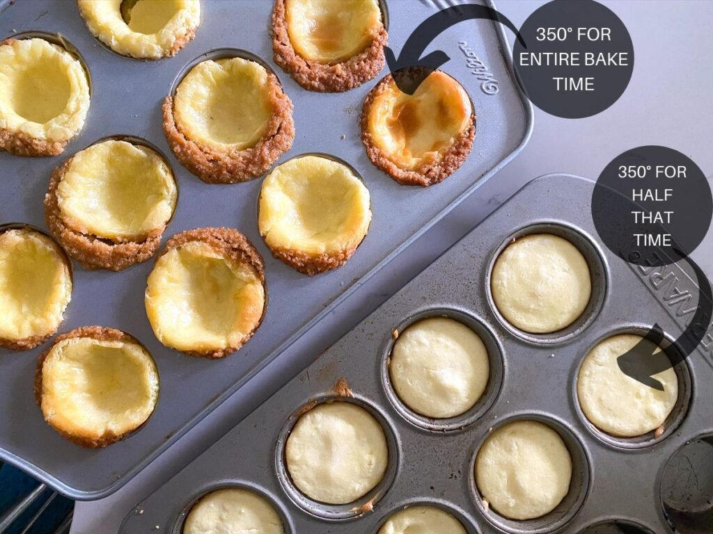 comparison of mini cheesecake cups in muffin pan at different bake times