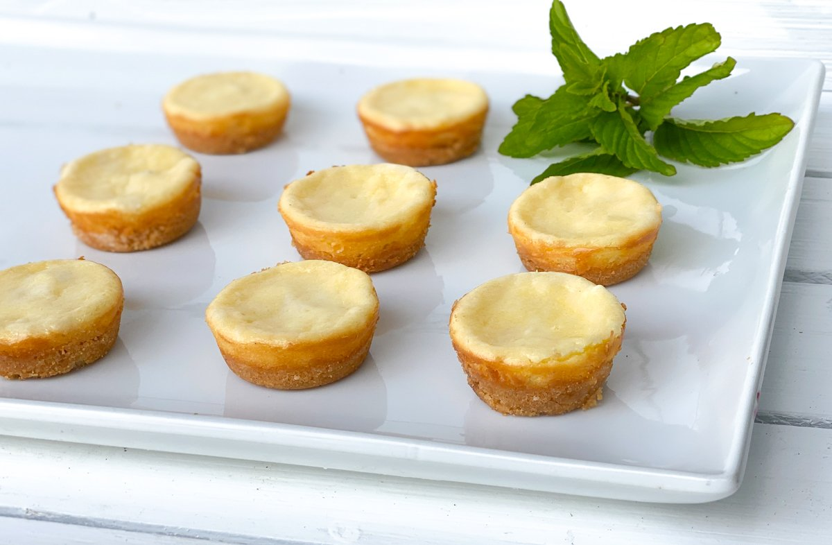 mini plain cheesecakes with cookie crust on white plate.