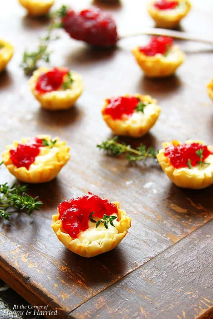 stuffed cranberry cream cheese phyllo cups for parties