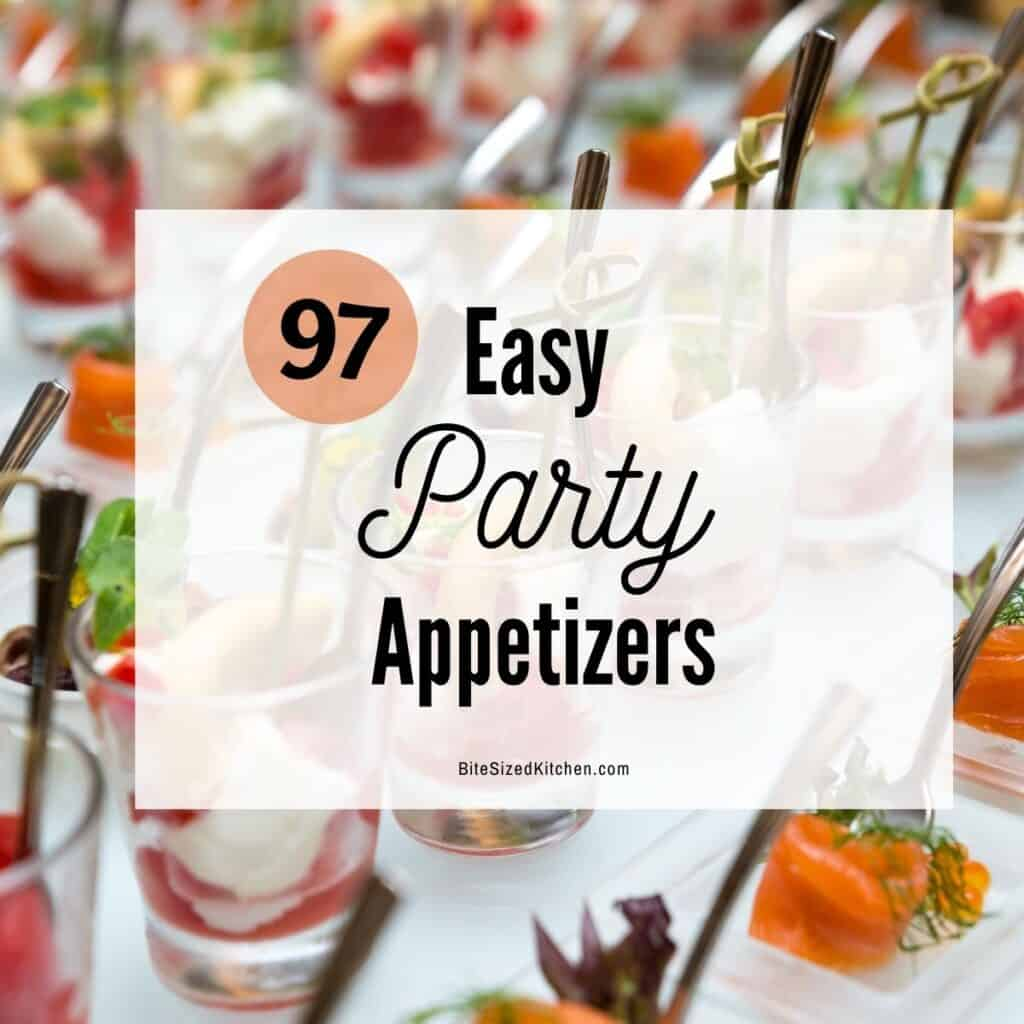 "Appetizer shooters with text overlay ""97 easy party appetizers""."