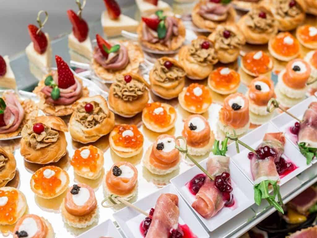 a spread of canapes and hors d'œuvres finger food for a party.