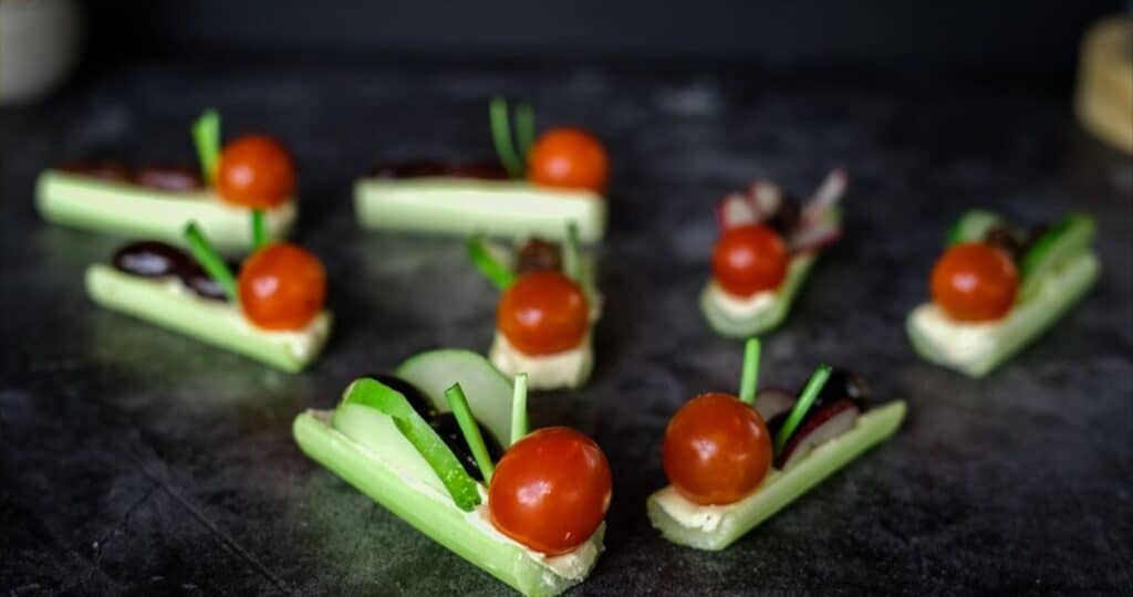 celery tomatoes and cucumbers formed into mini bugs on a dark table.