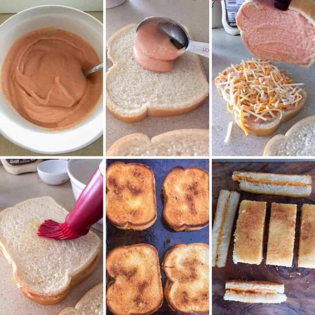 Steps for making baked grilled cheese sticks.