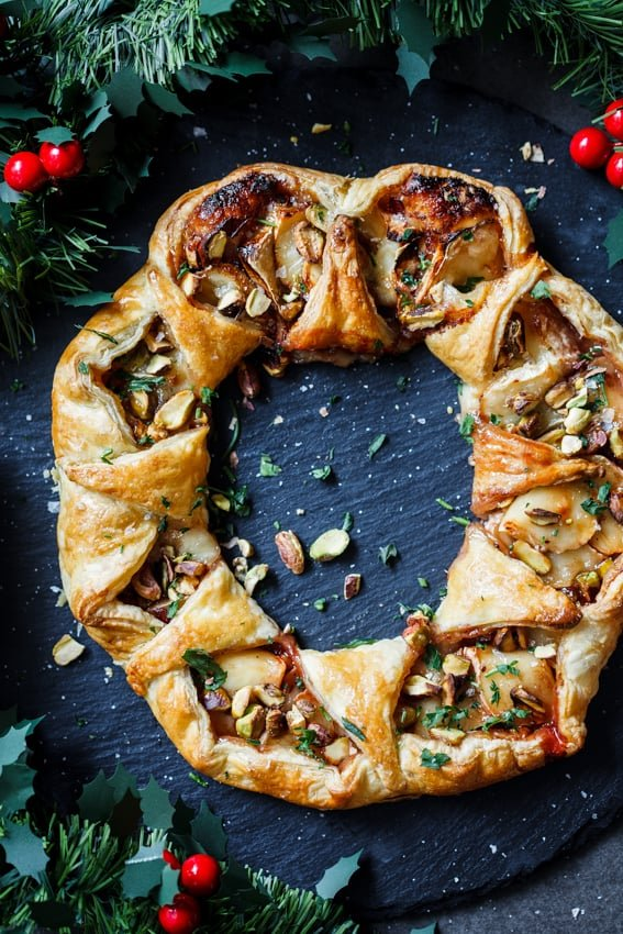 puff pastry dough shaped into a holiday wreath