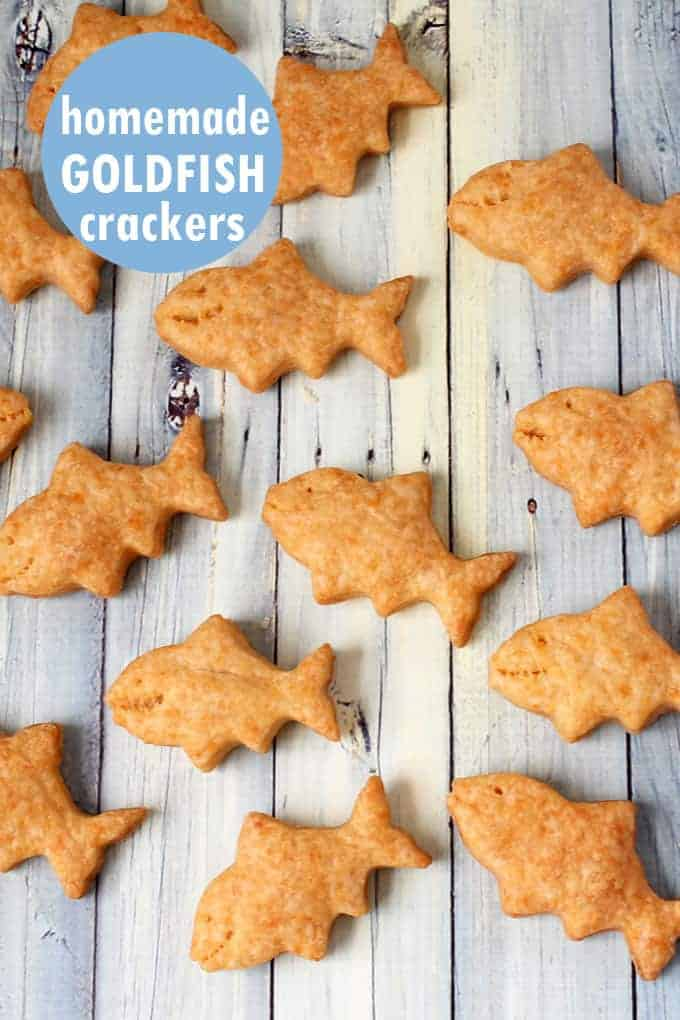 homemade goldfish crackers on a table.