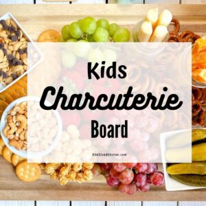 kid friendly charcuterie platter with snacks, fruits and cheese