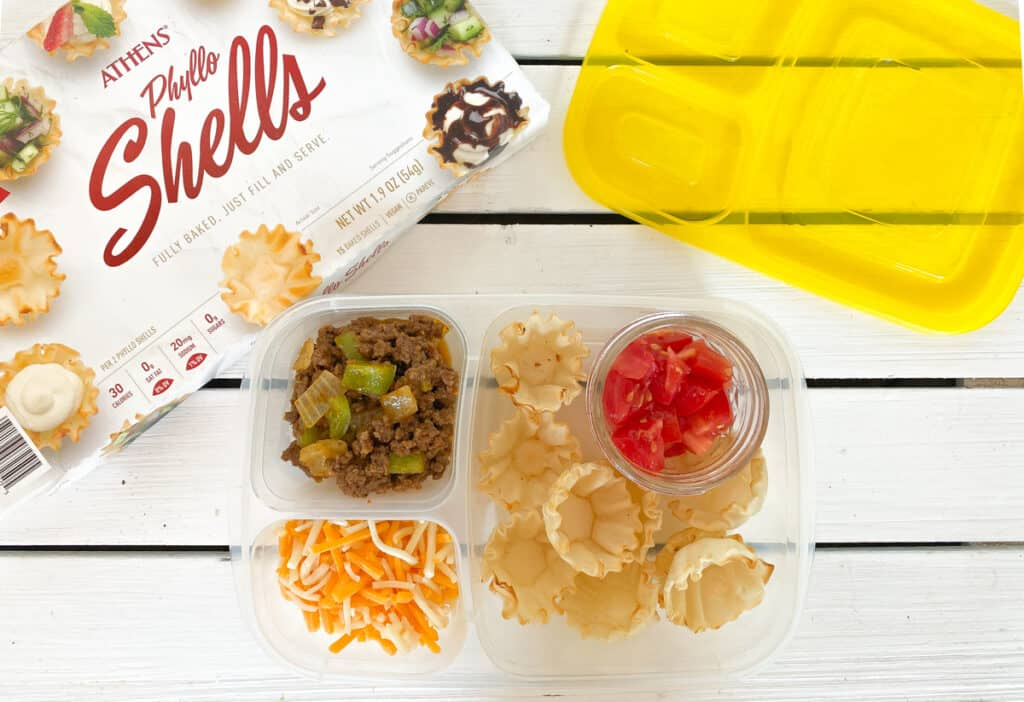 kids taco lunchable with ground beef, cheese and phyllo cups