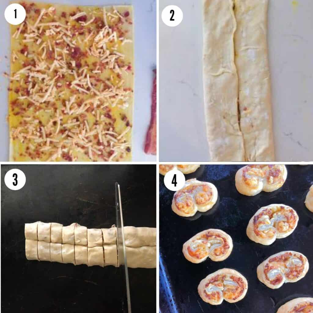 Steps for how to make, fold and cut savory palmiers.