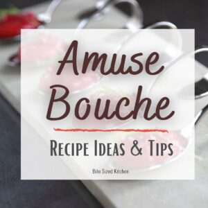 "amuse bouche spoons on a plate with text overlay ""amuse bouche recipe ideas and tips"""