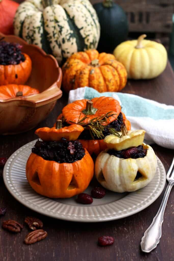 mini pumpkins stuffed with wild rice