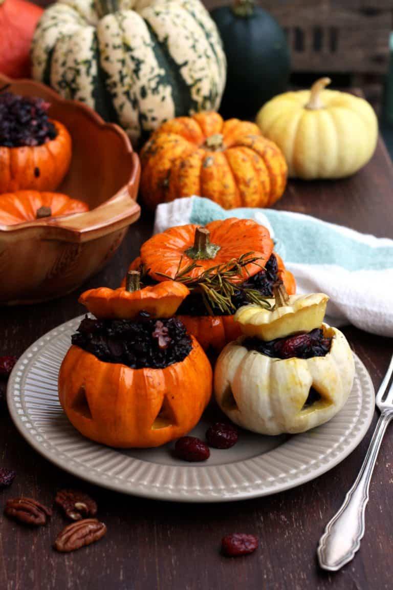 mini pumpkins stuffed with wild rice.