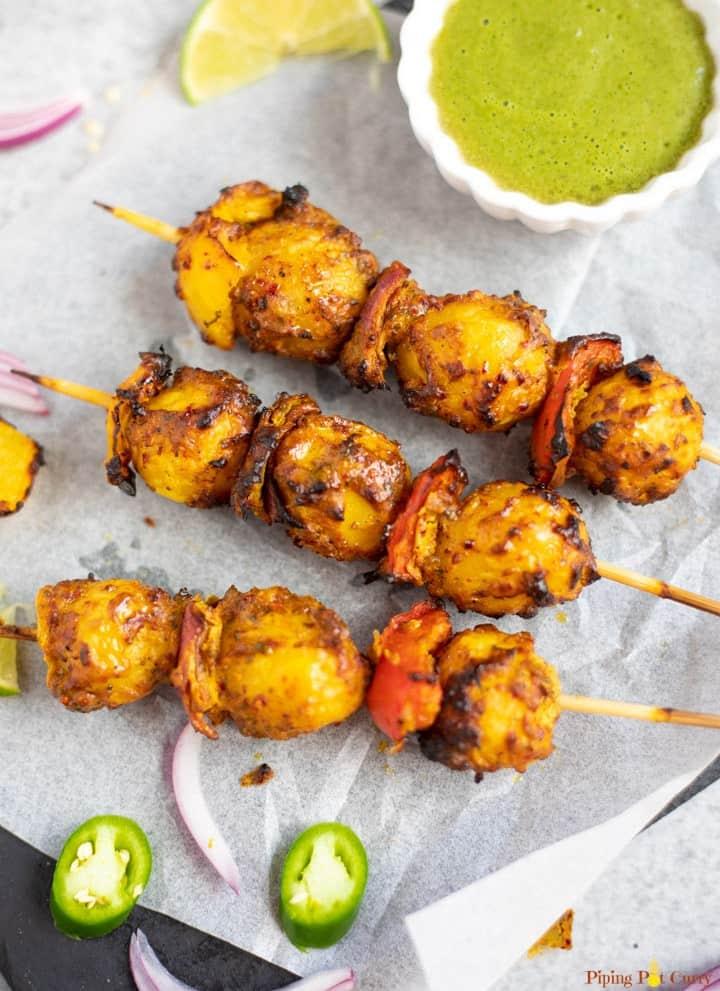 tandoori chicken appetizer skewers.